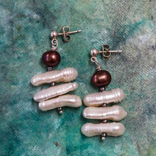 Load image into Gallery viewer, White stick Freshwater Pearl Earrings