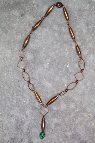Vintage Copper Chain + Turquoise Necklace