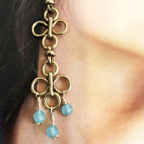 Vintage Brass and Blue Chalcedony Chandelier Earrings Sunlit 01