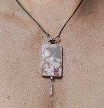 Load image into Gallery viewer, Cherry Blossom Agate + Quartz Point Focal Bead with Leather Necklace Curio 96
