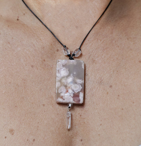 Cherry Blossom Agate + Quartz Point Focal Bead with Leather Necklace