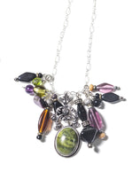 Load image into Gallery viewer, Moss Agate Gemstone Sterling Silver Charm Necklace
