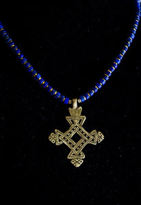 Brass Ethiopian Coptic Cross + Lapis Lazuli Necklace