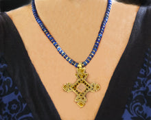 Load image into Gallery viewer, Brass Ethiopian Coptic Cross + Lapis Lazuli Necklace