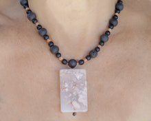 Load image into Gallery viewer, Cherry Blossom Agate Focal Bead with Black Lava Beads + Picture Jasper Beads Necklace Venus 22