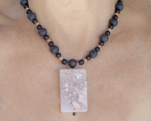 Cherry Blossom Agate Focal Bead with Black Lava Beads + Picture Jasper Beads Necklace Venus 22
