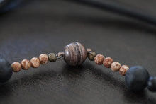 Load image into Gallery viewer, Cherry Blossom Agate Focal Bead with Black Lava Beads + Picture Jasper Beads Necklace