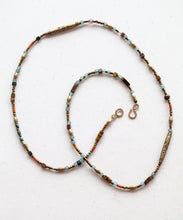 Load image into Gallery viewer, Tribal Brass and Recycled Glass Beaded Long Necklace