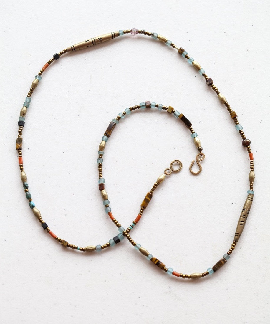 Tribal Brass and Recycled Glass Beaded Long Necklace
