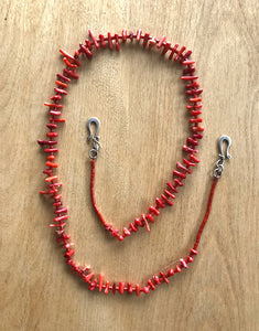 Vintage coral beaded face mask holder + necklace + eyeglass holder