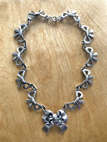 Vintage Sterling Silver Taxco linked choker necklace