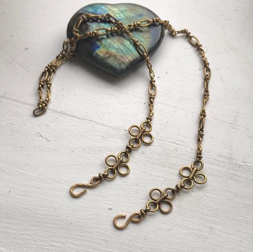 Vintage brass chain face mask + eyeglass holder and