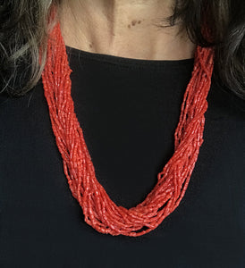Coral multi-strand beaded necklace lanyard eyeglass holder