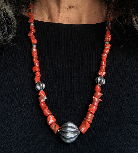 Vintage Mediterranean Coral Nugget Sterling Silver tribal beaded Necklace
