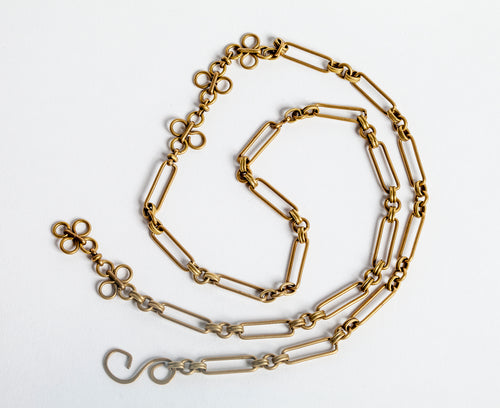 Vintage Brass Chain Necklace Variable Length