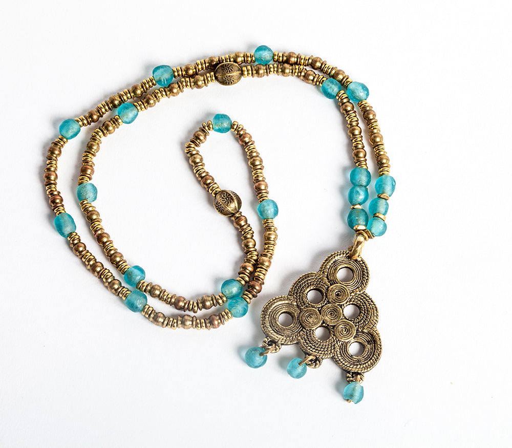 Berber Spiral Brass Etched Pendant with Turquoise Recycled Glass beaded Long Necklace