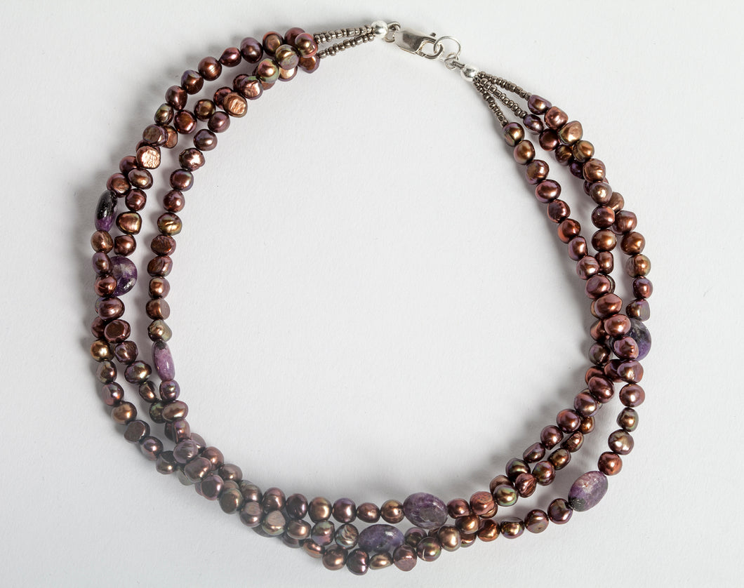 Multi-Strand Freshwater Pearl + Amethyst Necklace