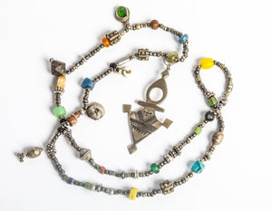 Talisman Century Old Beaded Necklace with Tuareg Berber Pendant