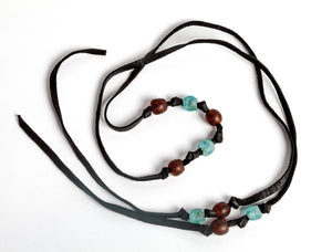 Reata 90: Leather and Recycle Beaded Lariat