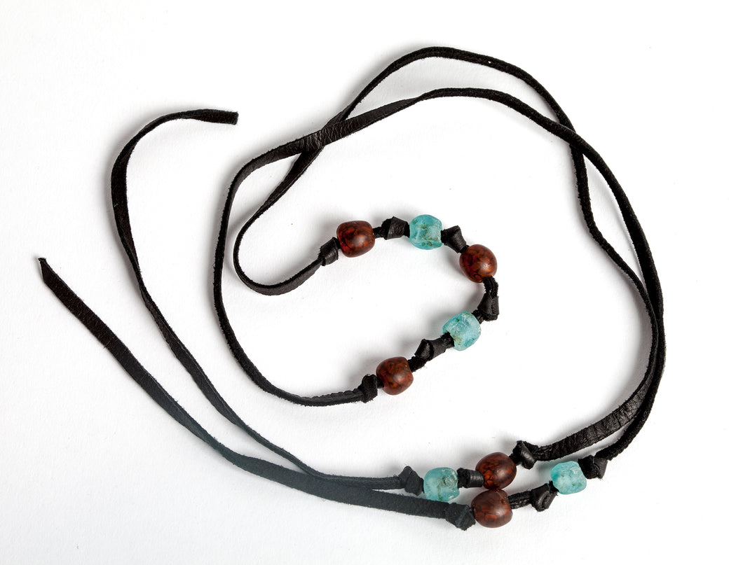 Leather and Recycle Glass Beaded Lariat