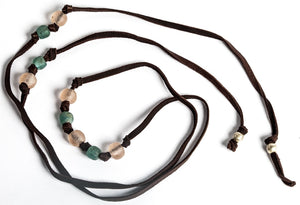 Leather and Recycle Beaded Lariat Reata 91