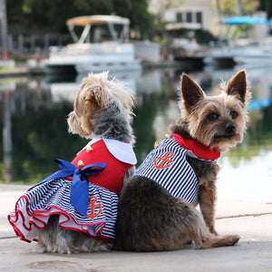 image of dogs wearing dress and harness