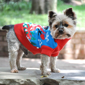 image of dog wearing ugly snowman holiday sweater