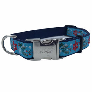 collar with winterberry pattern and silver buckle with The Tail Wags logo