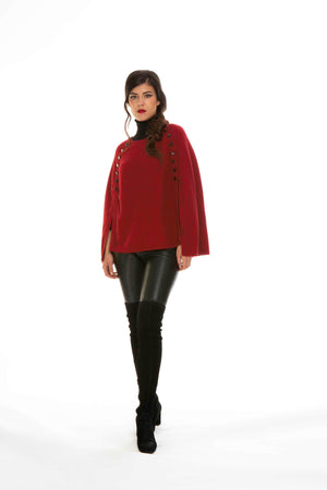 Open image in slideshow, Button Trim Poncho
