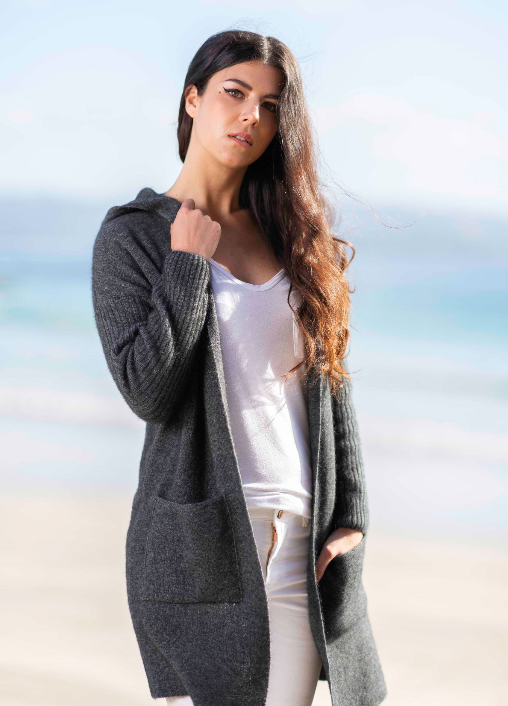 Hooded Long Line Cardigan