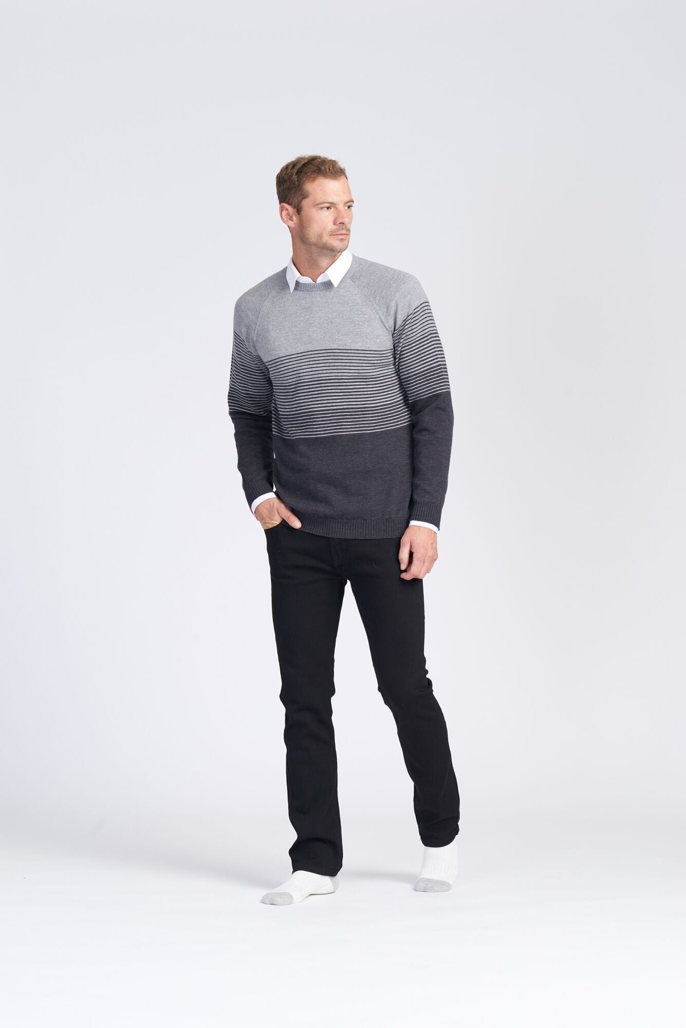 Mens L/S Raglan Graduated Stripe Jumper