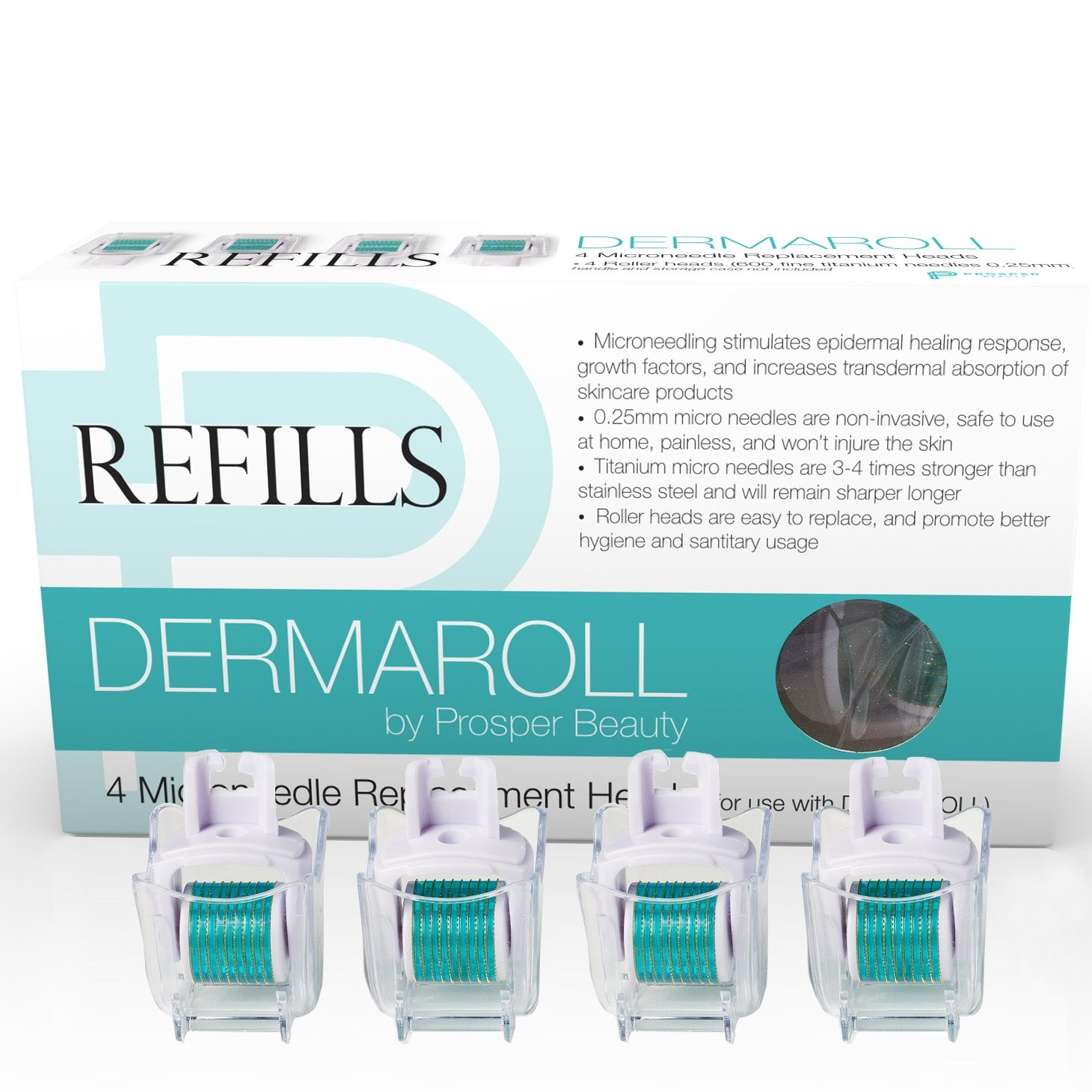 DERMAROLL REFILLS 0.25mm by Prosper Beauty (4 Microneedle Replacement Heads 0.25mm - NO HANDLE, ROLLER HEADS ONLY)