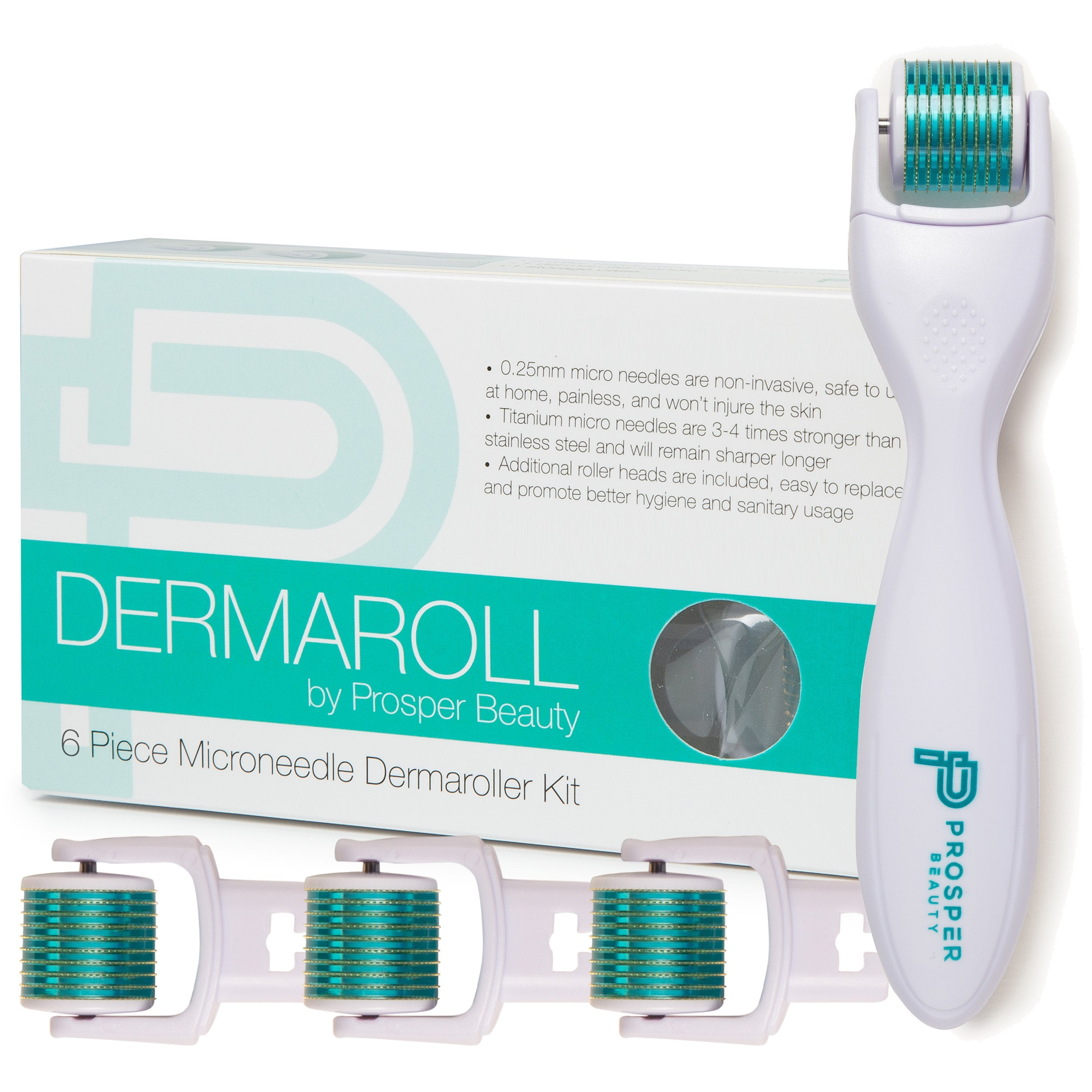 DERMAROLL by Prosper Beauty (6 Piece Microneedle Derma Roller Kit 0.25mm)