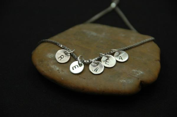 personalized initial disk necklace