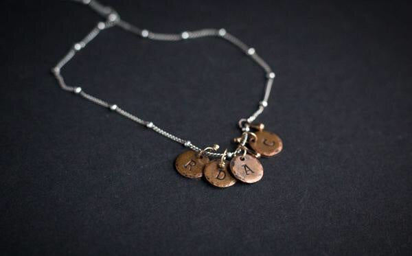 personalized initial disk necklace copper