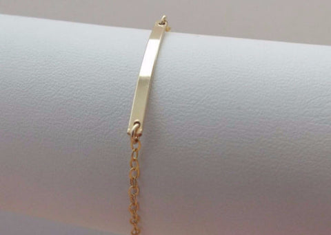 gold skinny bar bracelet