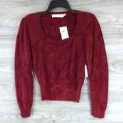 ASTR Square Neck Fuzzy Sweater