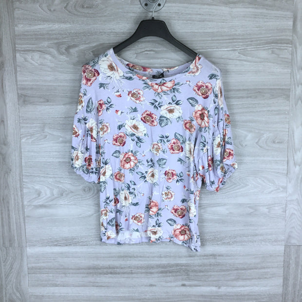 Bobeau Floral Print Cutout Scoop Neck Blouse