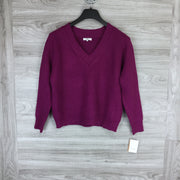FRNCH Purple Ribbed V-Neck Sweater