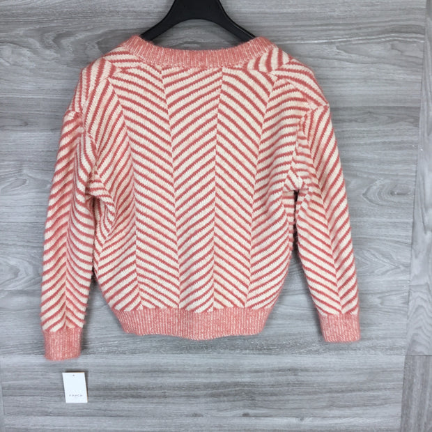FRNCH Pink Stripped Ribbed V-Neck Sweater