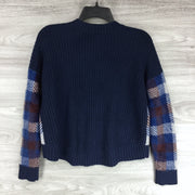 1.States Blue Velvet Front Button Up Cardigan Sweater