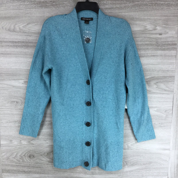 Something Navy Speckled Blue Front Button Cardigan