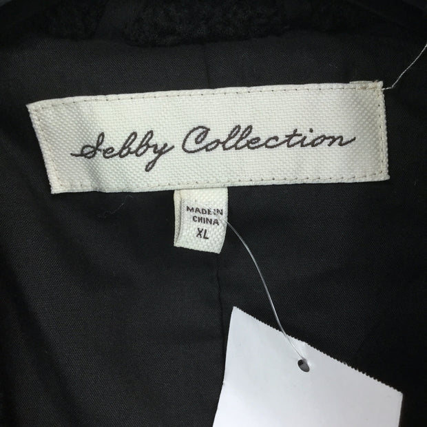 Sebby Collection Notch Lapel Faux Shearling Jacket
