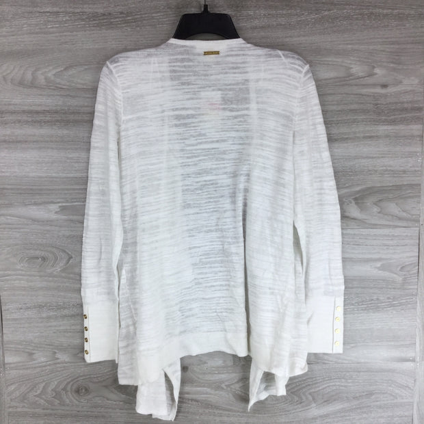 Michael Kors White Open Front Drape Cardigan Sweater