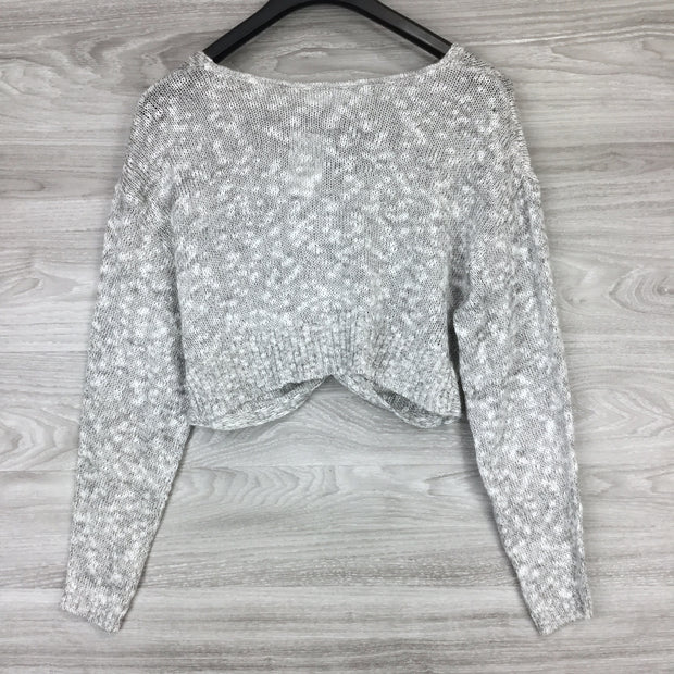 BCBGeneration Heather Grey Knit Twist Croptop Sweater