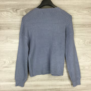 Catherine Slate Blue Textured Longsleeve Pullover Sweater