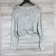 BCBGeneration Knit Twist Croptop Sweater Heather Grey