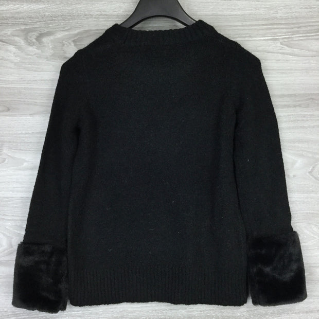 Catherine Black Faux Fur Cuff Pullover Sweater