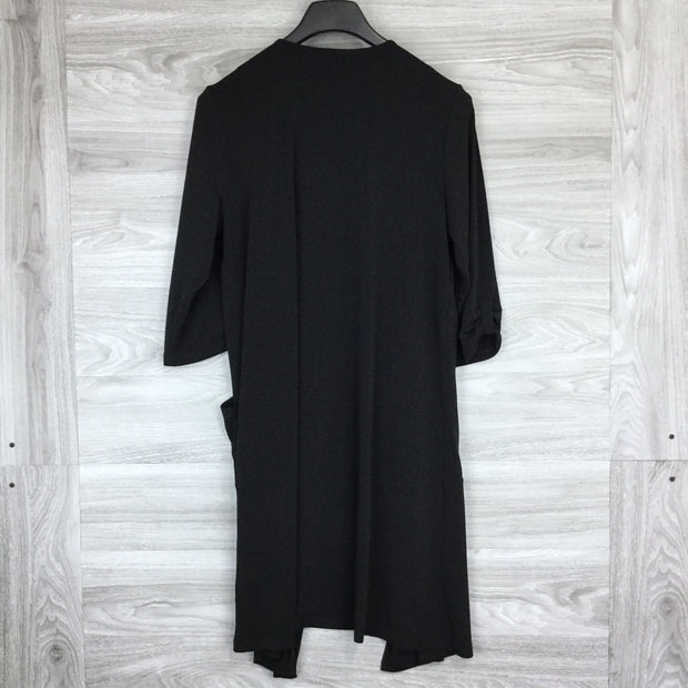 Tahari Black Open Front Tab Sleeve Cardigan