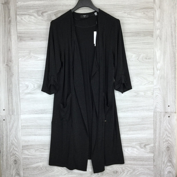 Tahari Black Long Open Front Cardigan Sweater